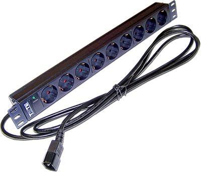 Блок розеток 19 9 шт. без выключателя, 10A 250V, шнур питания с вилкой C14, 3.0 м TWT-PDU19-10 hot 10a 250v inlet module plug fuse switch male power socket 3 pin iec320 c14 new