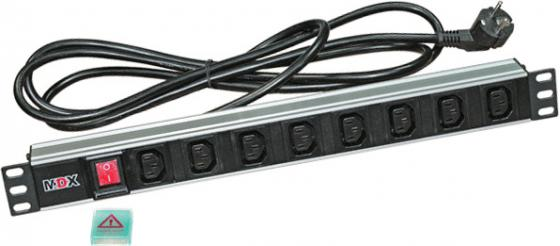 Блок розеток 19 8 шт. C13 с выключателем, 16A 250V, шнур питания 3 м, MDX шнур питания redmond ram pc1