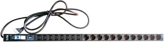 Вертикальный блок розеток, 12xSchuko + 8xC13, 250V, 16A, шнур 3 метра, вилка Schuko блок выключателей glen gelan 16a