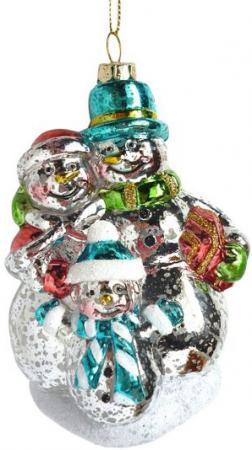 Елочные украшения Новогодняя сказка Снеговики 12 см 1 шт пластик 972882 мягкие игрушки новогодняя сказка подвеска русские узоры 15 см серебро в ассорт