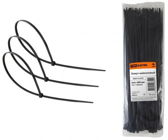 Хомут TDM SQ0515-0220 4.8х400мм нейлон черный 100шт. крепление для трубы клипса tdm electric 25мм 100шт серый