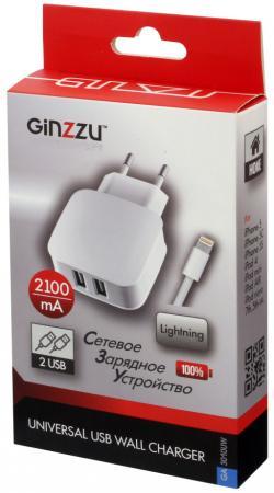 Сетевое зарядное устройство GINZZU GA-3010UW 2.1A 8-pin Lightning 2 х USB белый сетевое зарядное устройство ginzzu ga 3311ub 2 х usb 3 1а черный