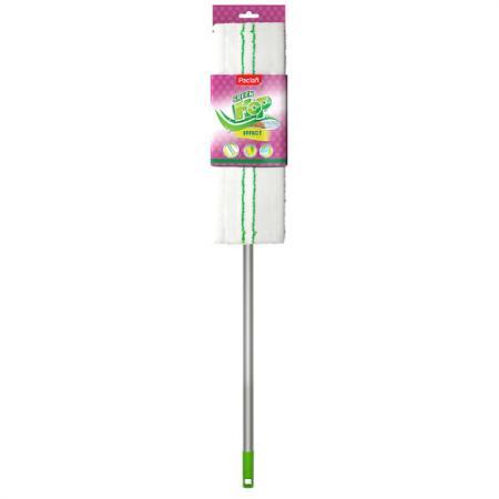 PACLAN Швабра Green Mop с плоской насадкой из микрофибры и телескопической ручкой 1 шт швабра флаундер 3 с телескопической ручкой и сменной насадкой