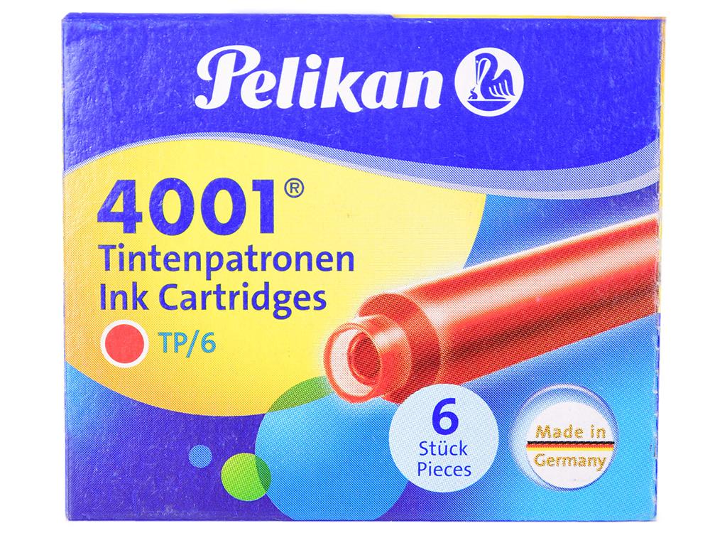 Картридж Pelikan INK 4001 TP/6 (301192) Brilliant Red чернила для ручек перьевых (6шт) картридж pelikan ink 4001 tp 6 311928 brilliant brown чернила для ручек перьевых 6шт