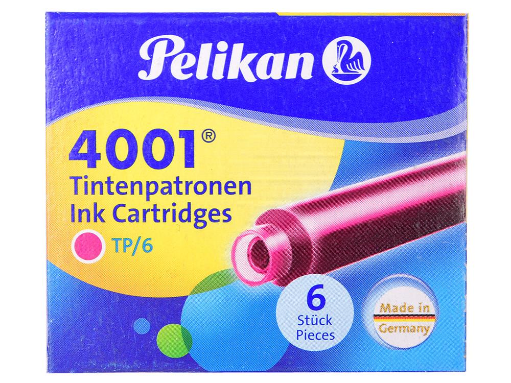 Картридж Pelikan INK 4001 TP/6 (321075) розовые чернила для ручек перьевых (6шт) картридж pelikan ink 4001 tp 6 311928 brilliant brown чернила для ручек перьевых 6шт