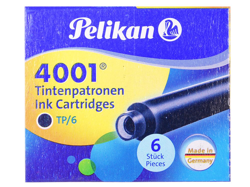 Картридж Pelikan INK 4001 TP/6 (301184) Blue-Black чернила для ручек перьевых (6шт) картридж pelikan ink 4001 tp 6 311928 brilliant brown чернила для ручек перьевых 6шт