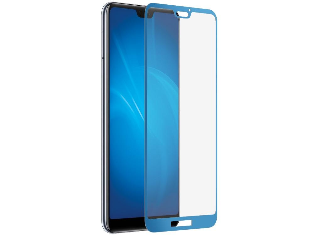 Закаленное стекло 3D с цветной рамкой (fullscreen) для Huawei P20 Lite DF hwColor-63 (blue)
