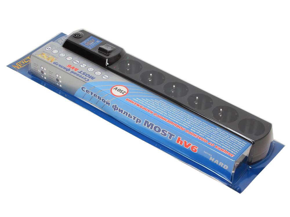 Сетевой фильтр Most HV6 3м черный 6 розеток