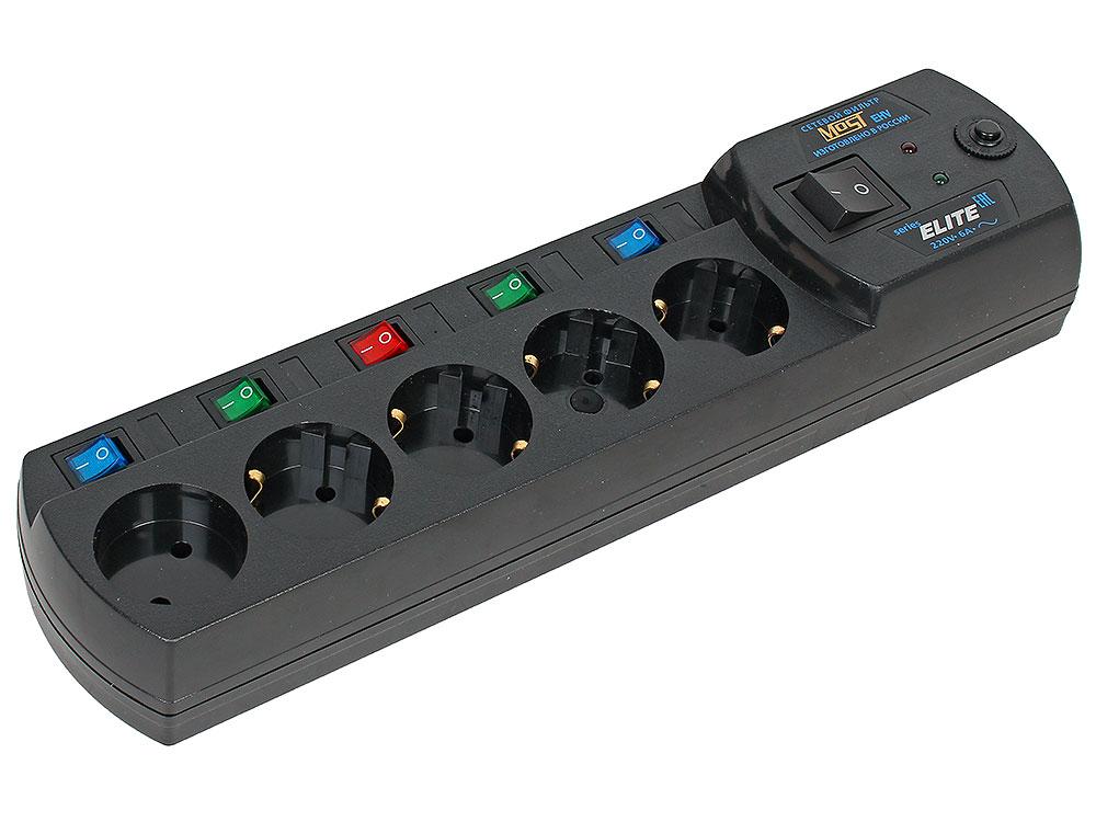 Сетевой фильтр Most ЕНV 2м черный 5 розеток+защита от 380V