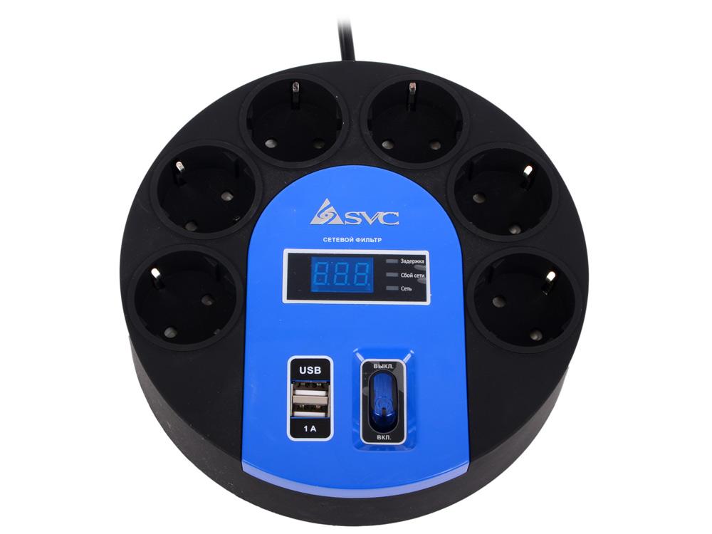 Сетевой фильтр, SVC, UFO G-4006-3BB, 6 вых.: Shuko CEE7, 3 м., USB-порт 2*5В/1А, Защита от перегрузок, Автоматическое отключение при нагрузке больше 1