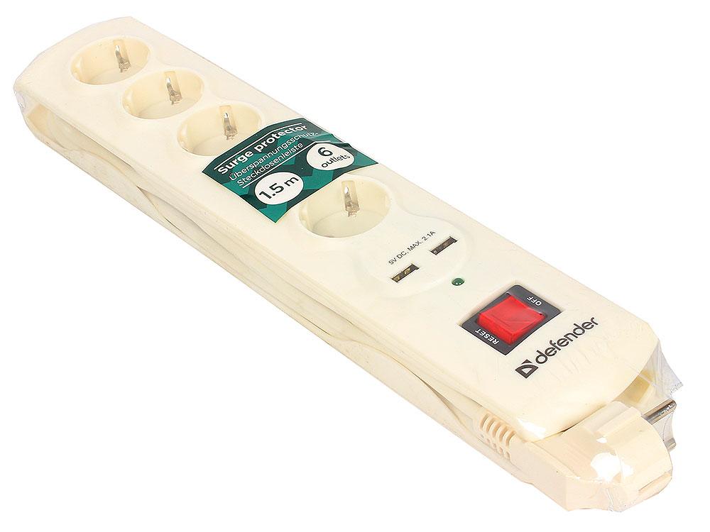Сетевой фильтр Defender DFS 951 белый 5 розеток, 1.5 м, 2 USB порта