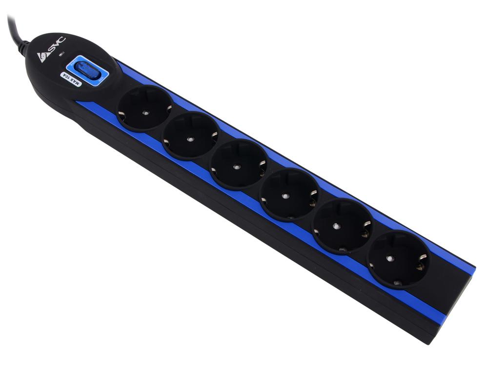 Сетевой фильтр, SVC, Excalibur G-2006-1.5BB, 6 вых.: Shuko CEE7, 1,5 м , АС фильтрация 1100 Дж., Чёрно-Синий