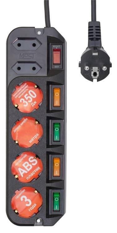 Сетевой фильтр MOST ARG 6 розеток 3 м черный сетевой фильтр most arg 6 розеток 1 6 м черный