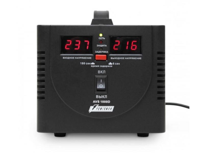 Стабилизатор напряжения Powerman AVS-1000D 2 розетки черный цены онлайн