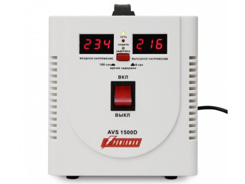 Стабилизатор напряжения Powerman AVS 1500D 2 розетки белый