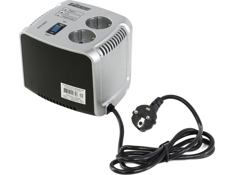 цена на Стабилизатор напряжения Powerman AVS 500C 2 розетки серебристый