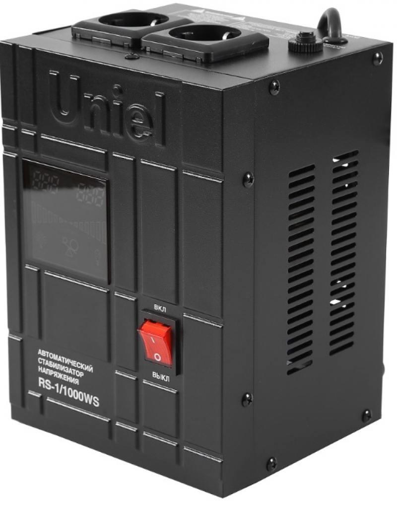 Стабилизатор напряжения Uniel RS-1/1000WS 2 розетки черный 07379 стабилизатор напряжения uniel rs 1 1000ws 2 розетки черный 07379