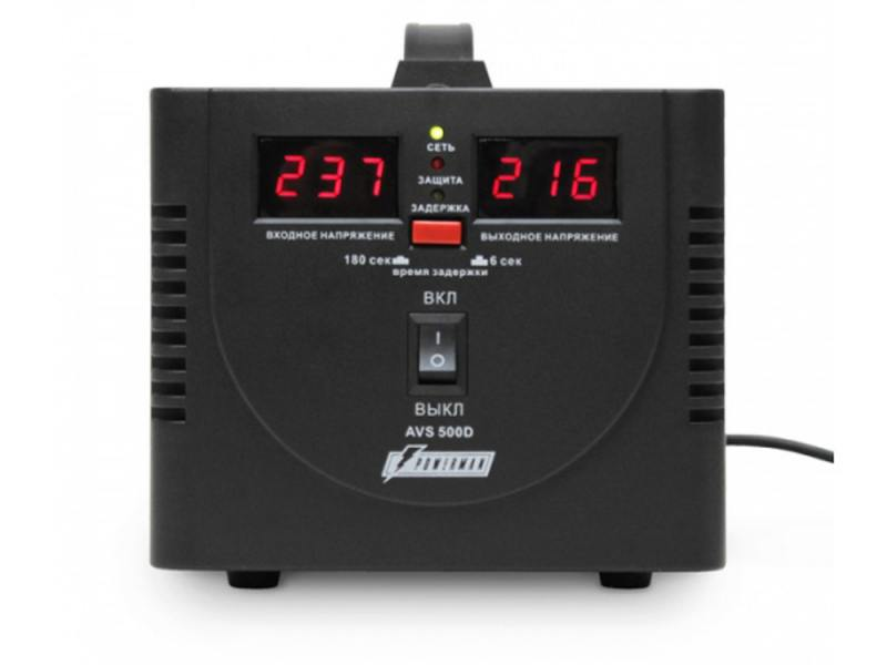 цена на Стабилизатор напряжения Powerman AVS 500D 2 розетки черный