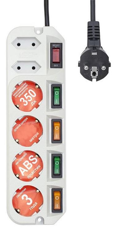 Сетевой фильтр MOST ARG 6 розеток 3 м белый lightstar подвесной светильник lightstar murano 603110