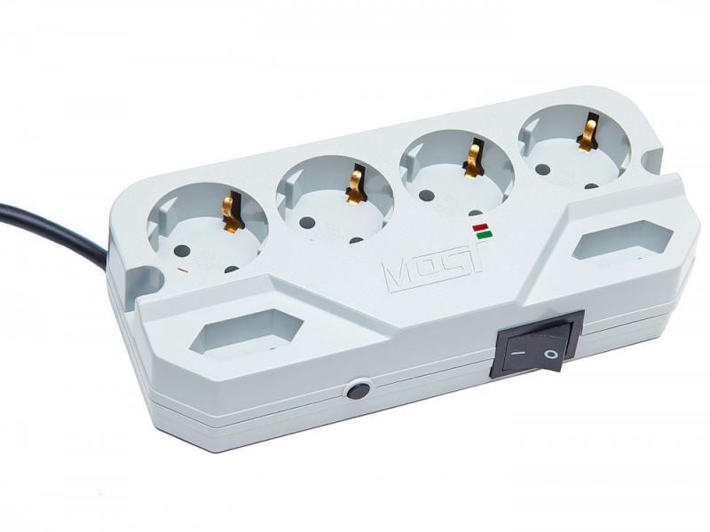 Сетевой фильтр MOST Compact СHV 6 розеток 5 м белый сетевой фильтр most compact сrg 6 розеток 2 м черный