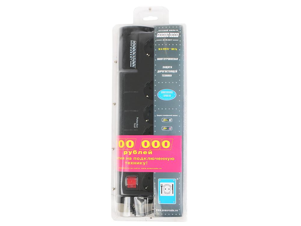 Сетевой фильтр Power Cube SISN-BLACK-10 Garant 6 розеток 3 м черный цена и фото