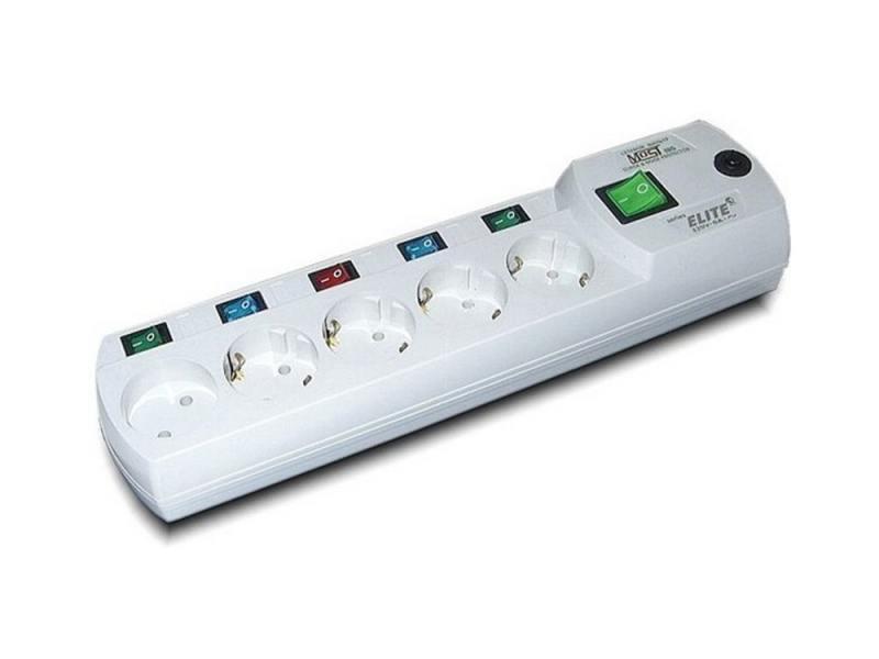 Сетевой фильтр MOST Elite ERG 5 розеток 2 м белый сетевой фильтр most erg 5м