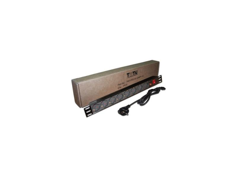 Блок розеток Gembird TWT-PDU19-10A8P-1.8 8 розеток 1.8 м черный блок розеток lanmaster twt pdu19 10a8p 8 розеток черный