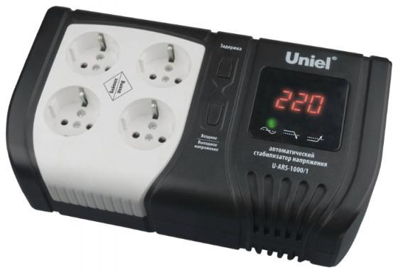 Стабилизатор напряжения Uniel U-ARS-1000/1 4 розетки черный цена