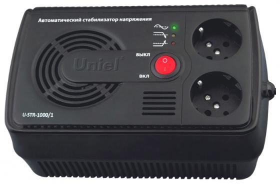 Стабилизатор напряжения Uniel U-STR-1000/1 2 розетки черный ибп uniel u iups 1500uc
