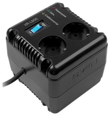 Стабилизатор напряжения Sven VR-L600 2 розетки черный SV-014865 стабилизатор sven vr l1000 sv 014872