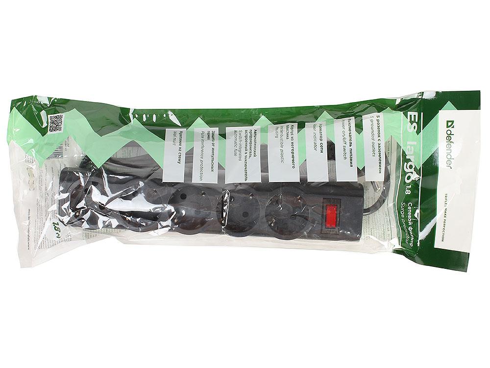 Сетевой фильтр Defender ES largo черный 1,8 м, 5 розеток defender фильтр сет defender es 1 8м 220в 10а 5роз с з к в бел