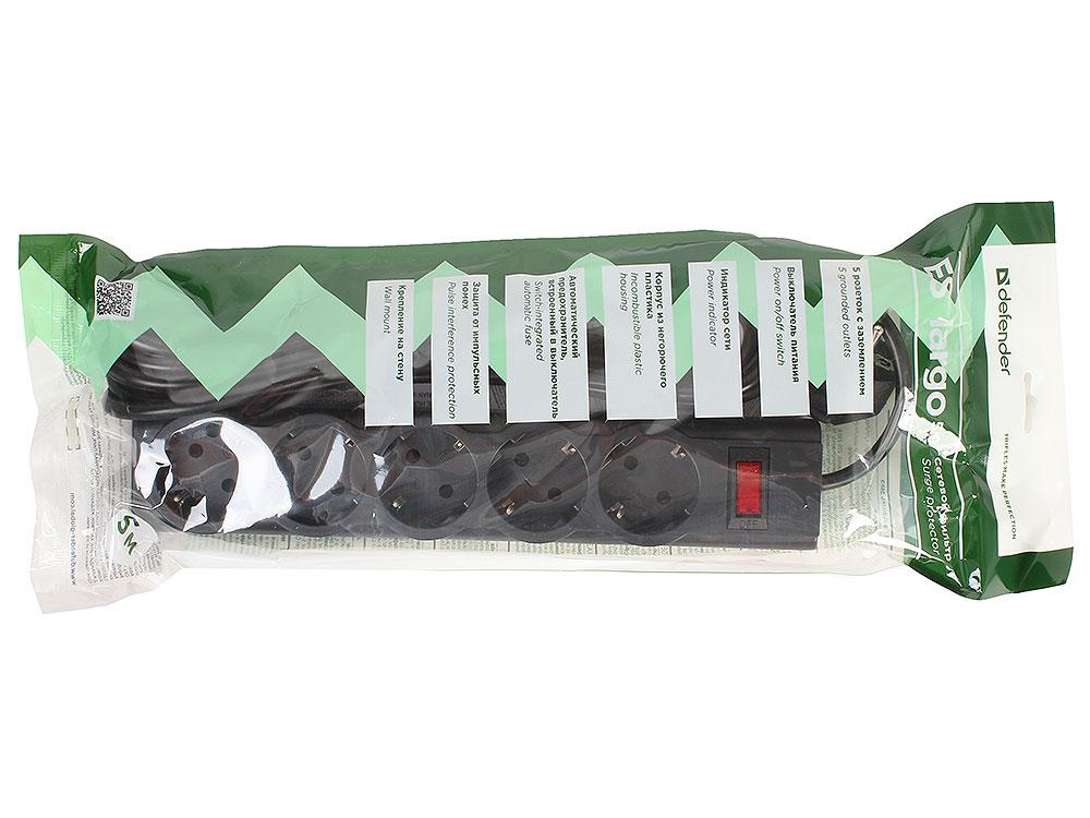 Сетевой фильтр Defender ES largo черный 5.0 м, 5 розеток