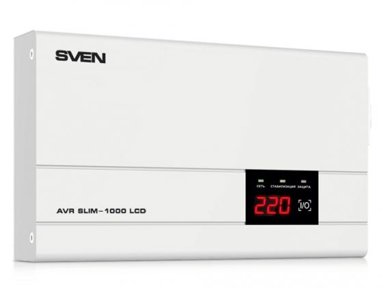 Стабилизатор напряжения Sven AVR SLIM-1000 LCD 1 розетка серый стабилизатор напряжения sven avr slim 1000 lcd серый 1 розетка