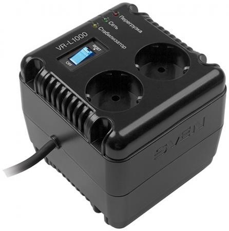 Стабилизатор напряжения Sven VR-L1000 2 розетки черный SV-014872 стабилизатор sven vr l1000 sv 014872