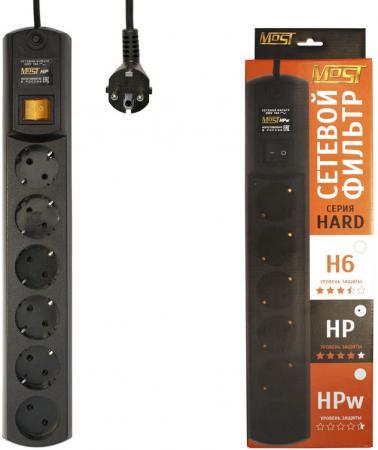 Сетевой фильтр MOST HP 6 розеток 5 м черный сетевой фильтр most hp 6 hp 5м 6 розеток 5 м белый
