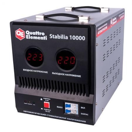 Стабилизатор QE Stabilia 10000 однофазный, цифровой 220В 10000ВА вх.:140-270В цены