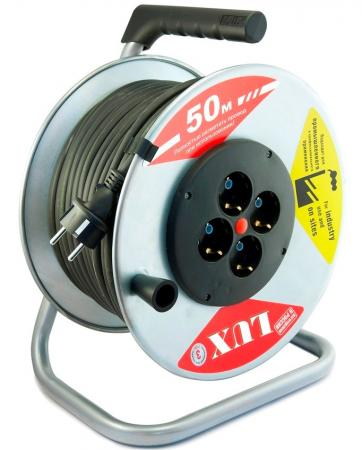 Удлинитель силовой LUX 45150 на металл. катушке К4-Е-50 КГ 3x2.5 50м 16А 4розетки с з/к от -40°С удлинитель 50 метров на катушке
