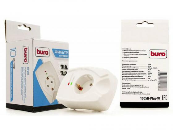 Сетевой фильтр BURO 100SH-PLUS-W 1 розетка белый