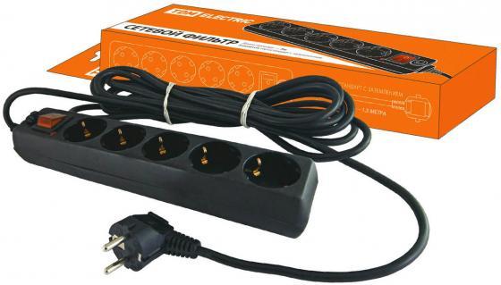 Сетевой фильтр ТДМ SQ1304-0002 СФ-05В выключатель 5гнезд 3м  заземлением ПВС 3х1мм2 16А/250В