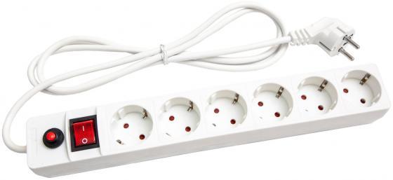 Сетевой фильтр UNIVersal  ПВС 3*0,75 6гнезд 5м  выключатель с индикацией, с/з, з/ш, белый