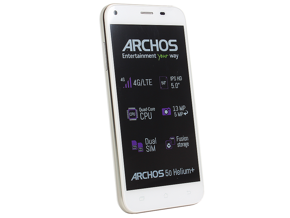 Смартфон Archos 50 Helium+ 1.0Ghz/5'' IPS/1Gb/8Gb/4G LTE/Dual SIM/SD/WiFi/BT/Cam 13MP/And 5.1/White