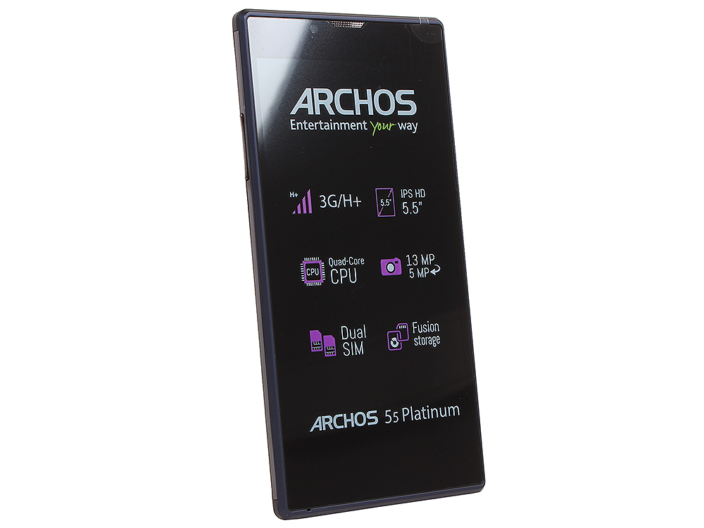 Смартфон Archos 55 Platinum 1.3Ghz/5.5'' IPS/1Gb/8Gb/Dual SIM/SD/WiFi/BT/13MP/And 5.1