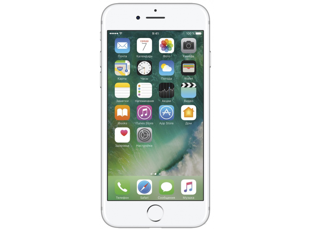 Смартфон Apple iPhone 7 128Gb серебристый (MN932RU/A) 4.7 (750x1334) iOS 10 12Mpix WiFi BT смартфон apple iphone 7 plus 32gb mnqm2ru a черный