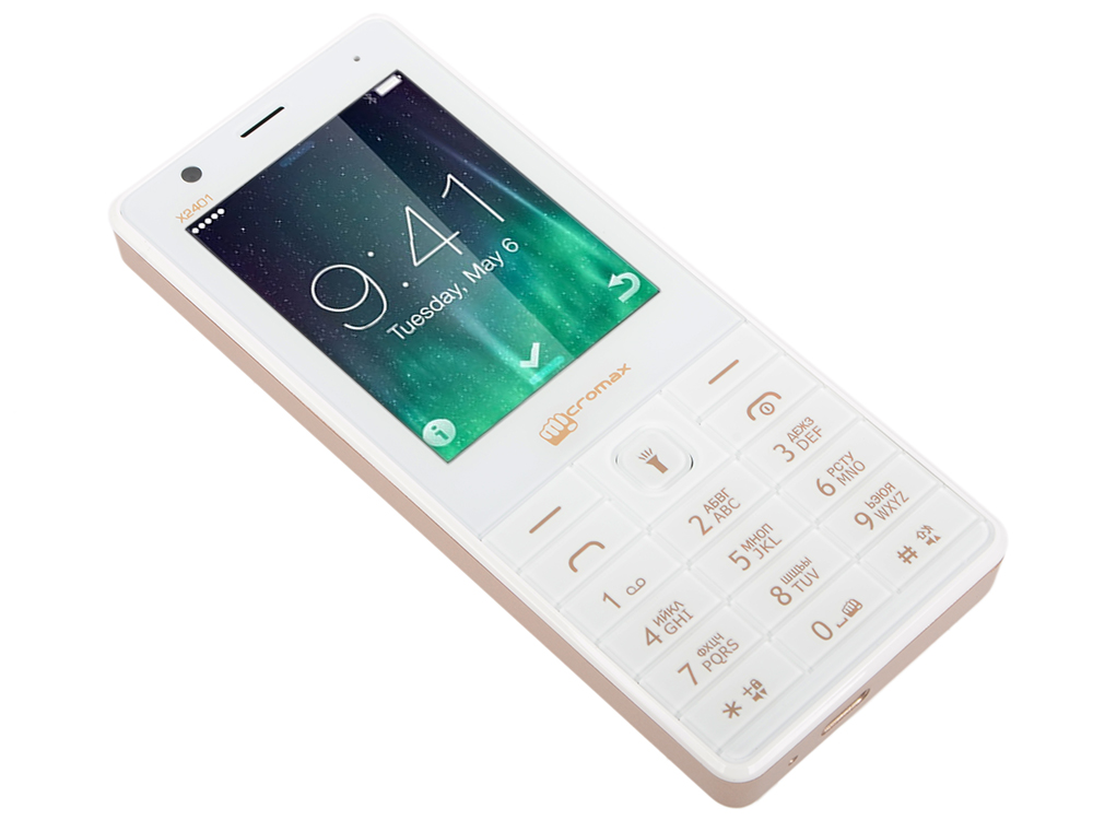 Мобильный телефон Micromax X2401 белый шампань 2.4 200 Мб мобильный телефон micromax x649 white