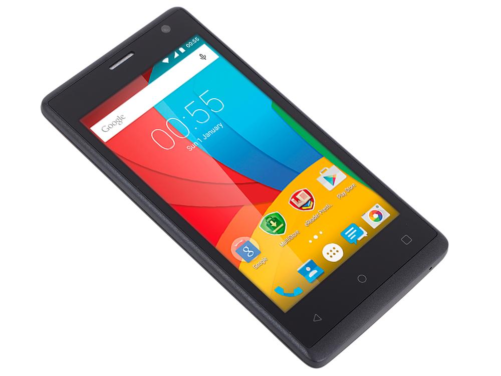 Смартфон Prestigio WIZE O3 (PSP3458DUOBLACK) 4.5 (480x854) FWVGA HD, Dual sim, Quad Core 1.2GHz/512Mb/4Gb, 0.3FF+5.0Mpx with LED flash, Android 5.1, prestigio wize c3 dual blue