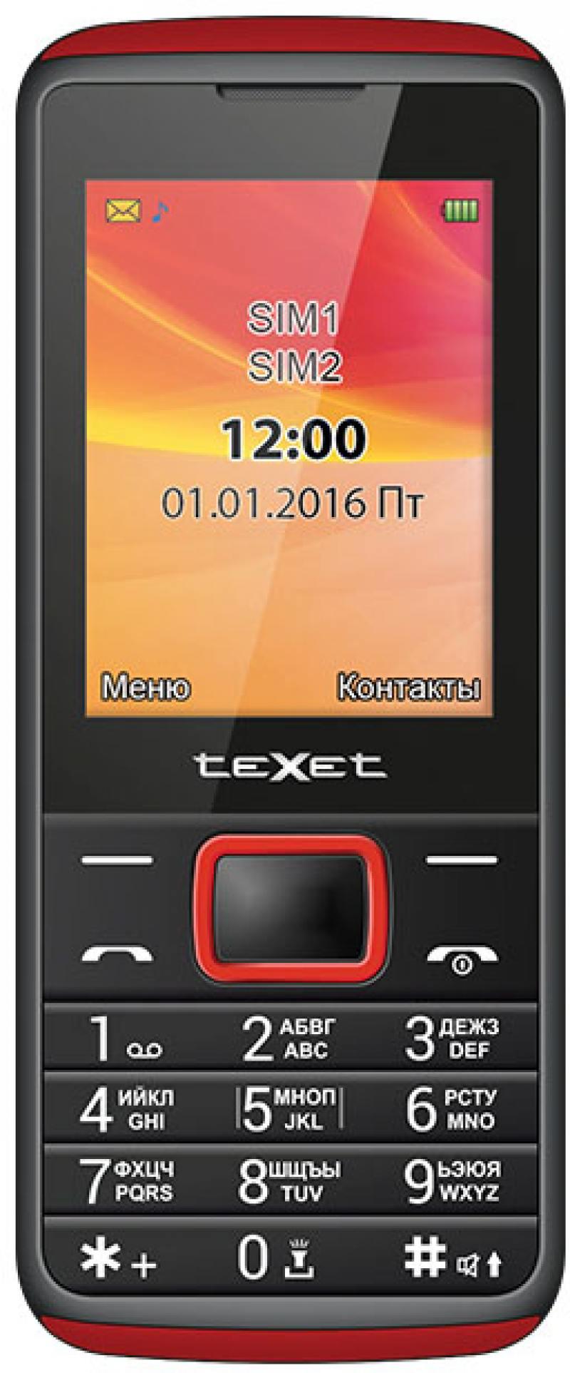 цены на Мобильный телефон Texet TM-214 красный черный 2.4