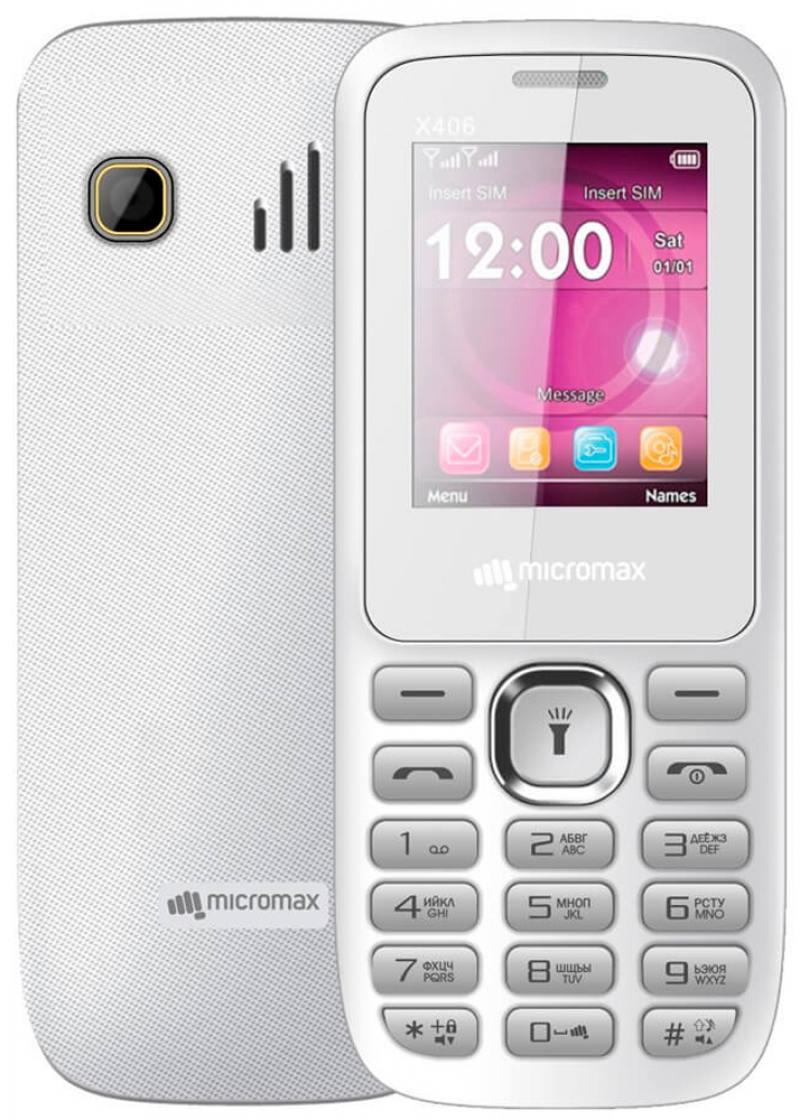 Мобильный телефон Micromax X406 белый 1.8