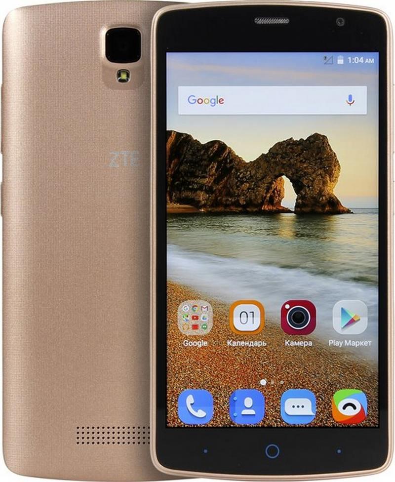 Смартфон ZTE Blade L5 Plus золотистый MT6580(1.3)/1GB/8GB/5'' 1280x720/2 Sim/3G/BT/Wi-Fi/GPS/Android 5.1