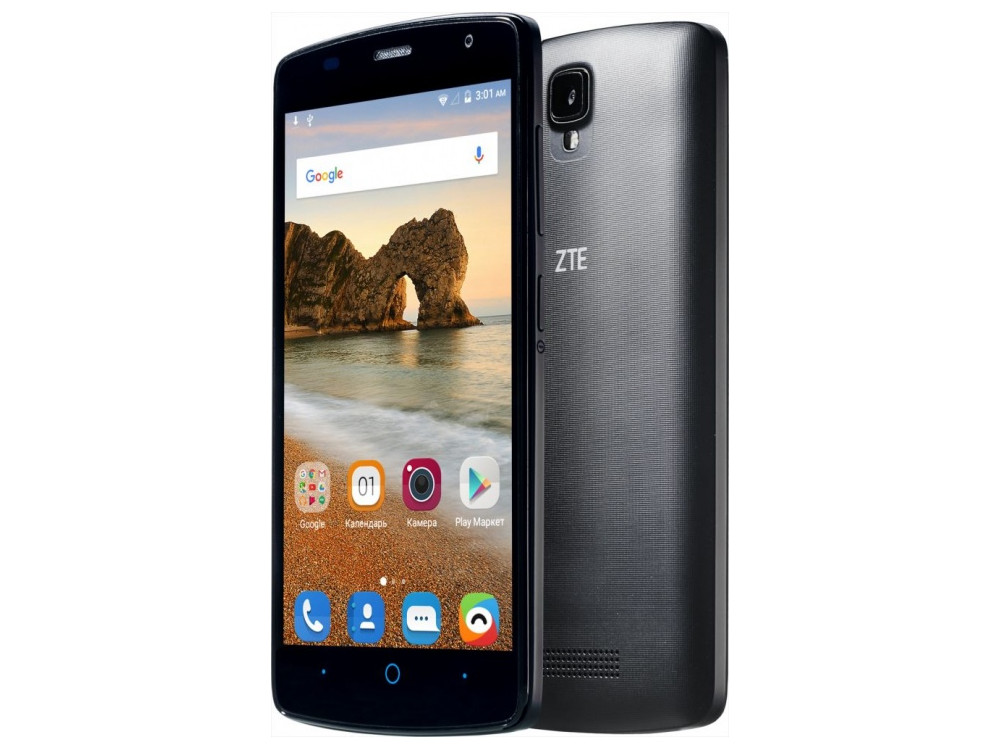Смартфон ZTE Blade L5 Plus черный MT6580(1.3)/1GB/8GB/5'' 1280x720/2 Sim/3G/BT/Wi-Fi/GPS/Android 5.1
