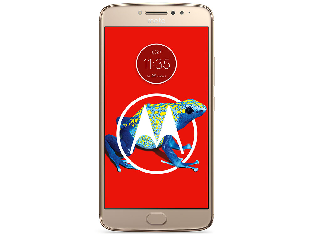 Смартфон Motorola MOTO E Plus (XT1771) Fine Gold MediaTek MT6737 1.3Ghz/3GB/16GB/5.5 IPS 1280х720/LTE/WiFi/BT/13MP/Fingerprint sensor/Android 7.0 смартфон motorola moto c 4g xt1754 fine gold
